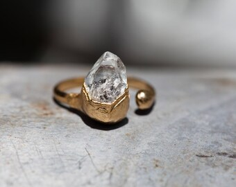 AFTER MIDNIGHT RING • Herkimer Diamond Raw Quartz Gold Ring