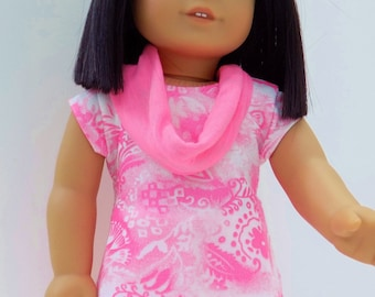 American Girl doll clothes, Neon pink Graphic print tee and mini skirt with Infinity scarf/headband, 18 inch