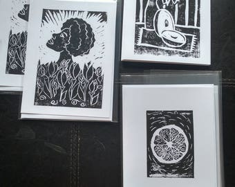 Large Greeting Cards - Original Handpulled Linocut Prints