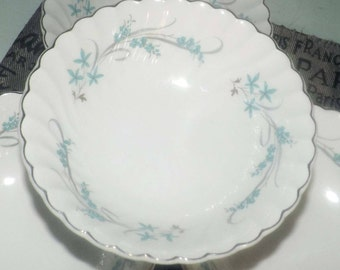 Mid-century (c.1950s) Johnson Brothers JB1117 cereal or salad bowl. Blue flowers, grey leaves and swirls. Snowhite Regency.