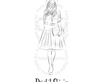 Digital Stamp,Clipart,Line art,Tina Fashion Lady,Fashion Girl graphics,Digi stamp,digistamp,Art print,fashion Illustration INSTANT DOWNLOAD