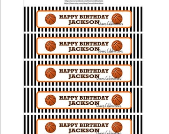 Basketball Water Bottle Labels, Basketball Party Supplies, Basketball Party Decorations by Owens Celebrations (Digital File Only)