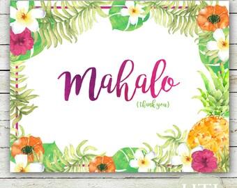 Luau Thank you Card- Thank you Card Hawaii- Hawaiian- Watercolor- Mahalo Teal- Digital Printable 5.75x4.5 automatic download