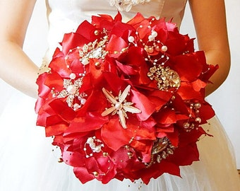 Red Brooch bouquet  fabric bouquet red bouquet bridal bouquet broach bouquet  silk bouquet alternative bouquet bridal accessories wedding