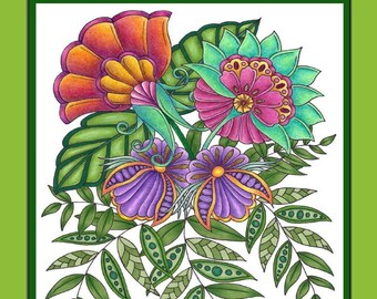 Flowers of Wonder - A Coloring Book of Fabulous Fantasy Flowers, Adult Coloring, Birds, Butterfly, Botanical - PDF Instant Download Version