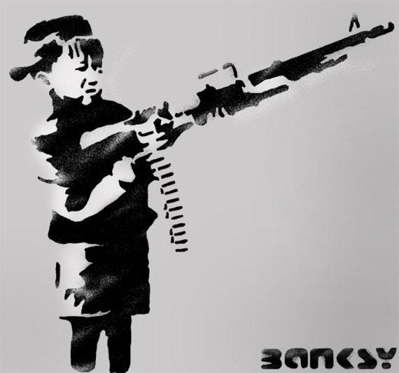 BANKSY Schablone junge brennen Gewehr. Farbe Banksy Entwürfe