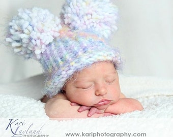 Soft Rainbow Clouds EAR HAT Newborn Baby Flat Top Hat Rainbow White with Pom Poms - Photography Prop