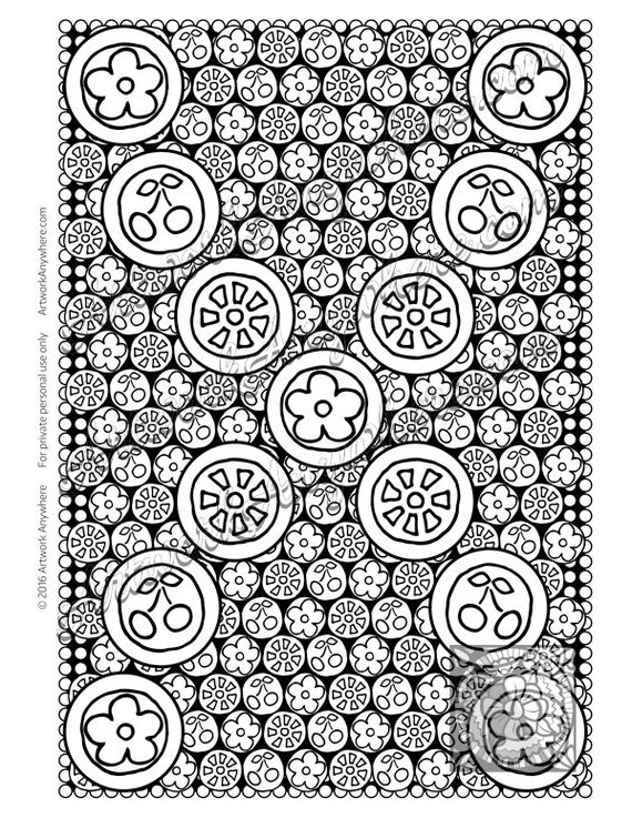 Cherries Flowers and Fruits Hard Candy Adult coloring page