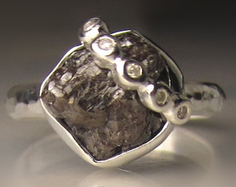 Rough Uncut Diamond Engagement Ring, Dark Chocolate Raw Diamond Ring in Sterling Silver, 4.57 Carats