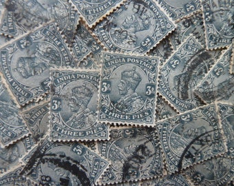 Indian Stamps  - Lot of 75 Vintage Blue Stamps from India for Decoupage, Scrapbooking, Collage, Card Making, Jewelry, etc.