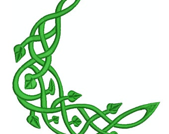 Machine Embroidery Design Instant Download - Celtic Knotwork Ivy Moon 2