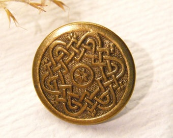 Vintage Button, Brass Metal, Celtic FLOWER, 11/16, ANIMAL Charity Donation