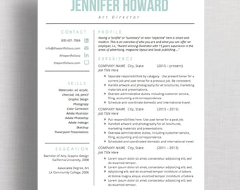 "Modern Resume Template | CV Template + Cover Letter | Creative Resume Design | Mac or PC | Microsoft Word (""Vine"")"