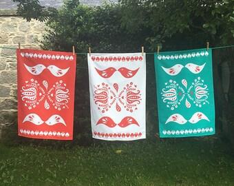 Love bird tea towel set of three