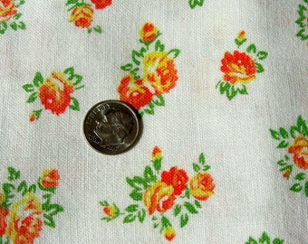 Vintage  FEEDSACK  Cotton  Fabric - Sweet Little Bouquets of Orange & Yellow Flowers: White Background  - 33 x 42