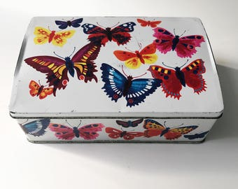 REDUCED Vintage 1960s Cadburys Butterfly Biscuit Confectionary Tin