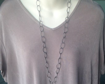 Gunmetal Chain ID Badge Lanyard Twisted Links Dark Gray Chain Lanyard