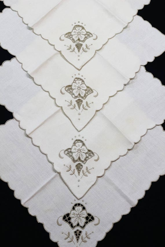 4 Ivory Linen Cut Work Napkins, Taupe Floral Embroidery, Cottage Shabby Chic Decor, Dinner Napkins, 14 by 14 Inches, Vintage
