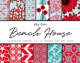 Beach House Digital Paper Set / Digital Scrapbook Paper / Illustrated Paper / Fashion Paper / Wallpaper/Backdrop