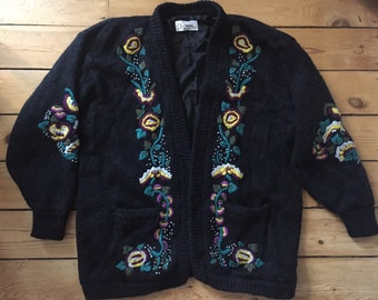 Floral Embroidered 1980's Cardigan