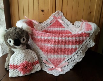 Crochet Baby Blanket, Baby Girl Blanket and Hat Set, Baby Shower Gift for Baby Girl
