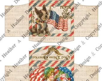Vintage Patriotic  Americana 4th Of July Envelopes Tiny ATC  printable Stars Stripes Flag America download Digital Collage 3 sheets sheet