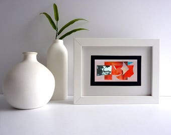 Abstract art collage on wood, contemporary art card, frameable art gift