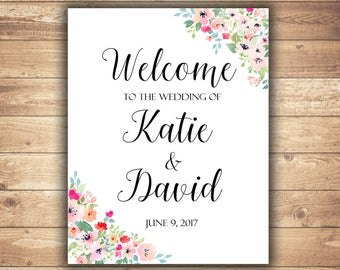 Welcome wedding sign Floral wedding sign Welcome to our wedding sign Welcome sign for wedding Wedding welcome sign printable Wedding signs