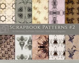 "DIGITAL SCRAPBOOKING PAPER — Ten Original Designs 12""x12"" Pages On Elegant Vintage Textured Backgrounds"