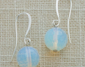Opalite Bead Milky Iridescent Earring French Hooks Handcrafted (Silver, Gold or Rose Gold) 6I