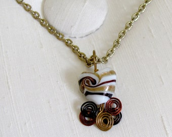 """Swirled Murano Glass Heart Pendant with Tri-Colored Swirled Wire Flourishes ~ Wire Wrapped Glass Heart Necklace - adjustable 16-19"""""""