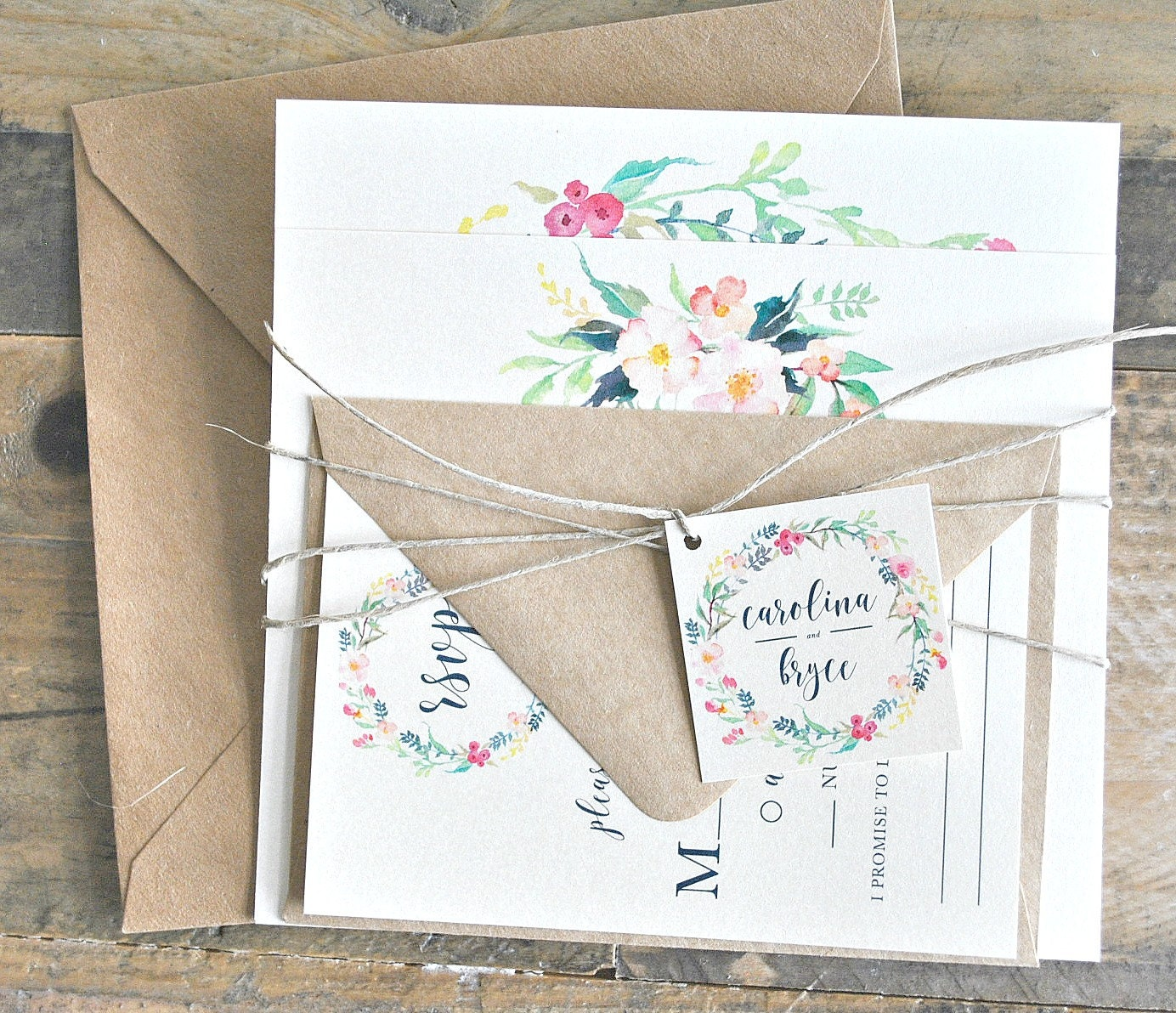 Lily Wedding Invitation Suite with Watercolor Floral Wreath