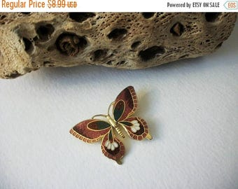 ON SALE Vintage 1960s Colorful Cloisonne Butterfly Pin 102916