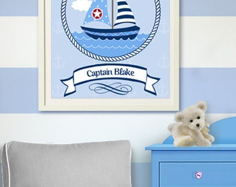 Sailboat Nautical Nursery Art - Custom Nursery Art Print, Nautical BabyBoy Room Decor,  Sailboat print ,