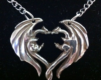 Dragon Heart Sterling Silver Pendant