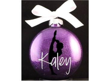 Personalized Brunette Girl Gymnast Gymnastics Christmas
