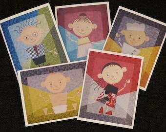 Ensemble de 5 cartes de souhait