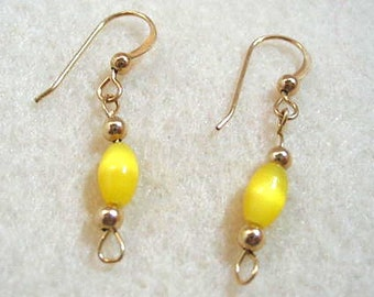 Yellow Glass and Gold Bead Earrings, Feminine Petite Beaded Jewelry Design, Casual Handmade Minimal Earrings