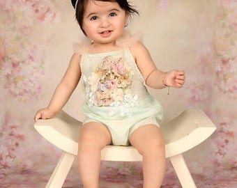 Cod500Sitter girl overalls, romper , photo prop , girl photography, 9-12 months