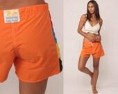 Swim Shorts Trunks Orange Bathing Suit Board Shorts Swimsuit 80s Boyshort Swim Suit Bikini Bottoms Vintage Hipster Summer Large