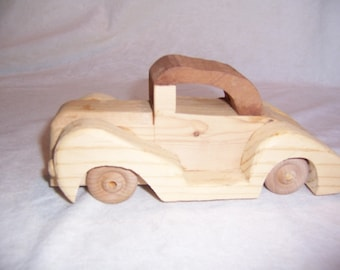 Toy Car for the Children, Kids, Girls, Boys, a Wood Convertible made from Walnut and Pine