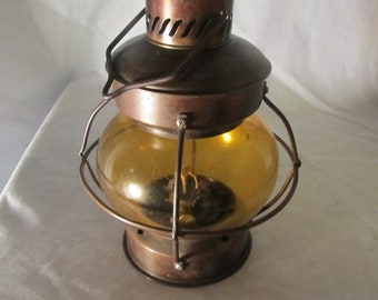 ANTIQUE OIL LANTERN With Amber Glass