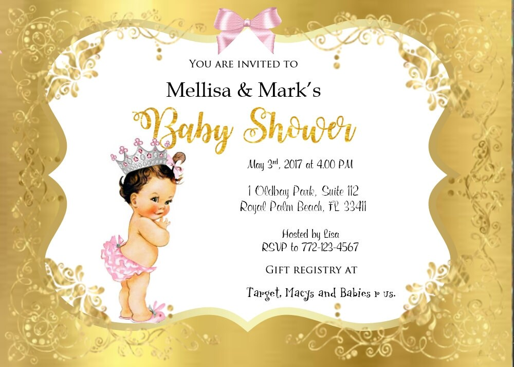 Vintage- Princess -crown - Baby Shower Invitation, Princess Baby ...