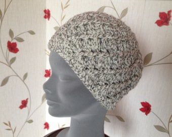 Irish Weave Beanie- Aran White - Tan - Eggshell  - Hand knit - Toque