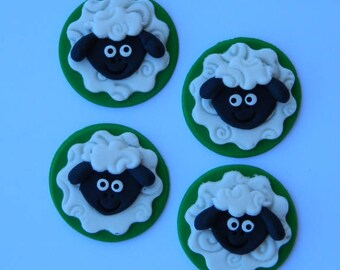 12 edible SHEEP FARM ANIMAL faces cupcake icing toppers cookie cake topper cupcake decoration wedding engagement birthday