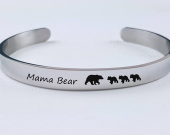 Gift for Mom Personalized Cuff Bracelet Mama Bear Bracelet Personalized Gifts for Her Rose Gold Silver Gift for Best Friend Gift for New Mom