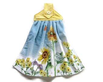 Sunflowers Velour Kitchen Towel - Fabric Top Kitchen Towel -  Button Top Hanging Towel - Tab Top Towel - Flowers Hanging Towel