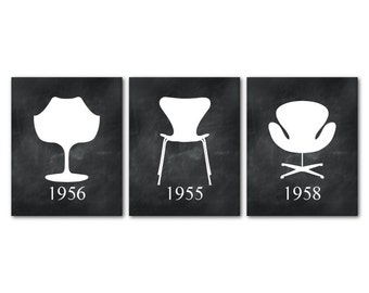Mid Century Modern Chairs - Furniture Art - Set of 3 PRINTs Jacobsen Chair silhouettes - Iconic chairs swan chair egg chair - Chair Wall Art