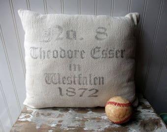 Grainsack feedsack cotton pillow Cream grey reproduction graphics Farmhouse Cottage Chic