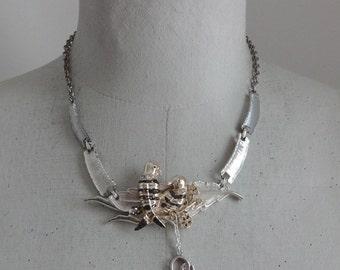 Love Birds Necklace, Parrot Necklace, Heart Necklace, Vintage Assemblage, Nest Necklace, Statement Necklace